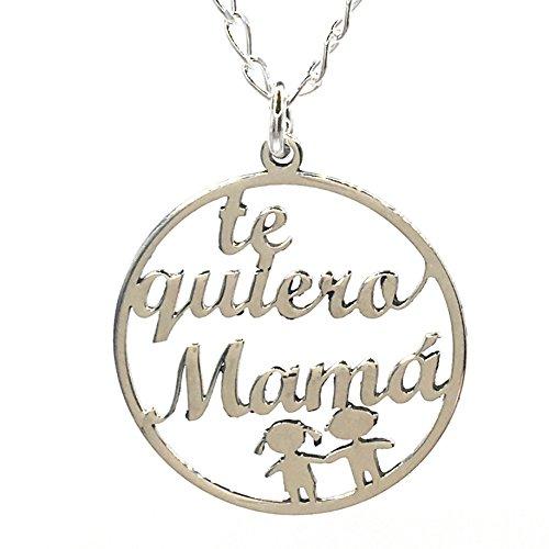 MASBARATA.ES Gargantilla TE Quiero MAMÁ DE Plata DE Ley 925/1000