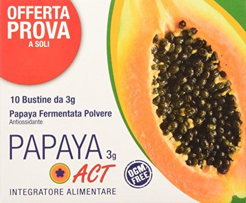 Linea ACT - Papaya ACT 3g - Integratore Alimentare a base di Papaya Fermentata in Polvere - 10 Bustine