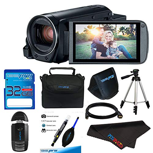 Canon VIXIA HF R800 Camcorder (Black) + 32GB Memory Card + Digital Camera/Video Case +Battery BP-727 + Quality Tripod + Card Reader - Deluxe Accessory Bundle