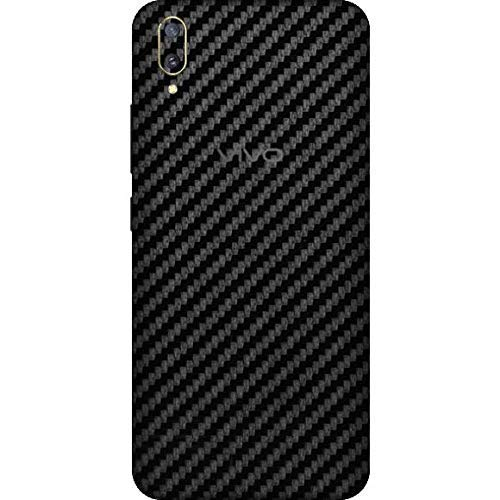 S-Softline Ultra Thin Slim Fit 3M Clear 3D Carbon Fiber Back Skin Rear Screen Guard Protector Sticker Protective for Vivo V11 Pro (Black)