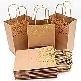 JJQHYC 18 piezas Bolsa de Regalo Bolsa de Papel Kraft con Decoración de Corazón Bronceado y Asas utilisada en...
