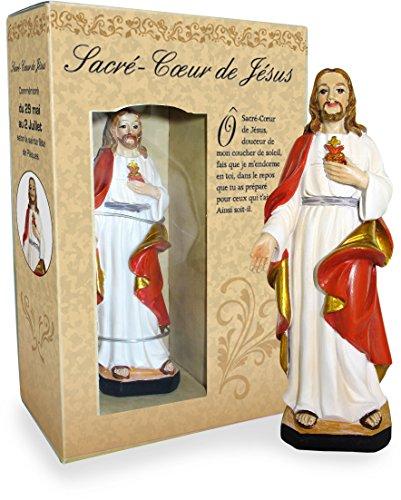 Statua del Sacro Cuore di Gesù da 12 cm in Confezione Regalo con segnalibro in Versione Francese
