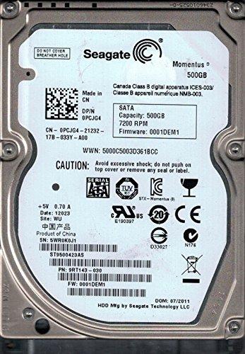 Seagate ST9500423AS P/N: 9rt143–030F/W: 0001dem1WU 5WR 500GB