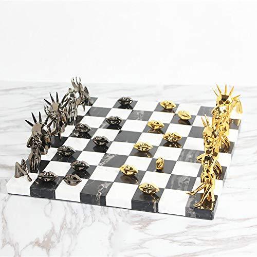 XiaoDong1 Moderna decoración de ajedrez de mármol creativa de aleación de ajedrez, decoración de sala de estar, 40 x 40 x 12 cm