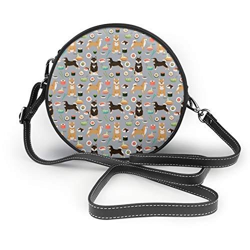 Shiba Inu Hunde und Nudeln, Sushi-Design, Grau, für Damen und Mädchen, runde Umhängetasche, Umhängetasche, modische Umhängetasche, Clutch, Handtasche