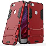 MaiJin Case for Xiaomi Redmi Note 5A / Redmi Note5A Prime/Redmi Y1 / Redmi Y1 Lite (5.5 inch) 2 in 1 Shockproof with Kickstand Feature Hybrid Dual Layer Armor Defender Protective Cover (Red)