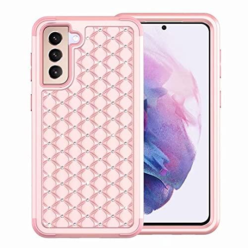 Compatible con iPhone 11, con cristales brillantes y diamantes de imitación, a prueba de golpes, hecho a mano, de doble capa, de goma rígida, funda híbrida para iPhone 11, oro rosa