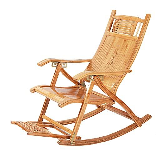 LLMY liegestuhl Schaukelstühle Aus Holz Faltbarer Sonnenstuhl, Tragbarer Liegesitz Auf Deck Gebogene Kopfstütze, mit Armlehne Fußmassagekissen, Belastbar 300kg(Color:Style 1)