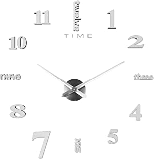 BJYXSZD 3D Wall Clock DIY Modern Wall Clock Frameless Large DIY Wall Clock Kit with Mirror Numbers Stickers for Home Office Decorations Gift Pointer Random (Silver)