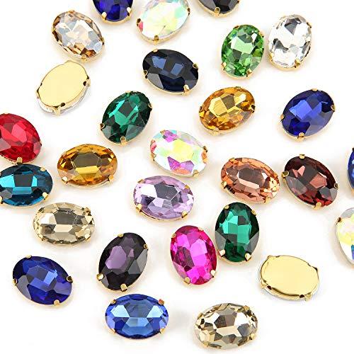 Choupee Oval Coser en diamantes de imitación de metal dorado con garra de vidrio de diamantes de imitación de colores mixtos para manualidades, disfraces, zapatos, cinturón, arete y álbumes de recortes