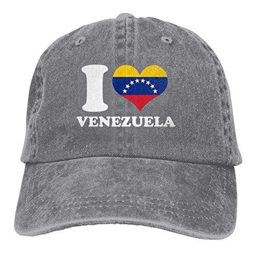 Presock Gorras De Béisbol I Love Venezuela Cowboy Cap Unisex Adjustable Snapback Baseball Hat Gray
