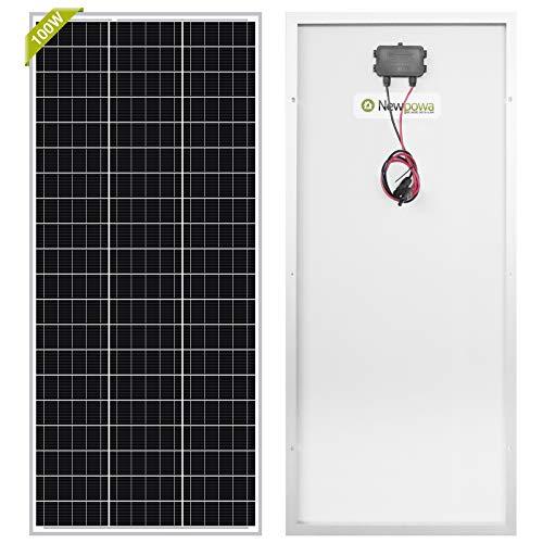 Newpowa 100W Watt Monokristallines SolarModul 100W 12V Panel Mono Solarzelle Photovoltaik für Wohnmobil Gartenhäuse Boot