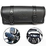 ZSADZS ツールバッグ バイク汎用 工具入れ 小物入れ 防水 レザー 容量3L 開けやすい 丸型 ブラック