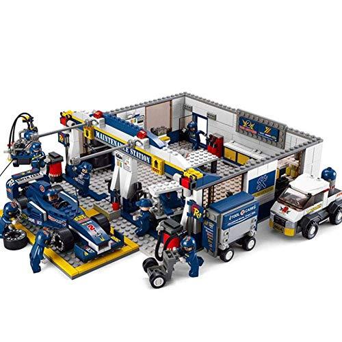 GAOJIEJM Combat Gift Blocks Ensemble de Puzzle Bricolage F1 Blu-Ray Racing - Station de réparation de Piste, Cadeau de Noël/Anniversaire