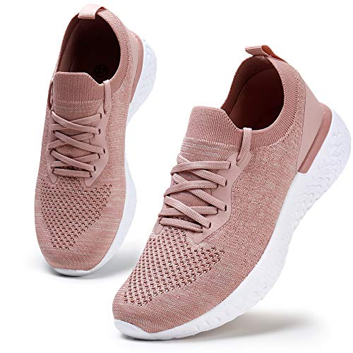 HKR Womens Athletic Running Shoes Comfortable Tennis Shoes Lightweight Walking Shoes Lace Up Trainers Breathable Wide Fit Gym Sneakers , Pink Pink, 7 UK