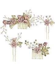 Toyvian - Fermaglio a pettine per capelli con strass, decorazione floreale nuziale, adatto a matrimoni, 4 pezzi, colore: rosa