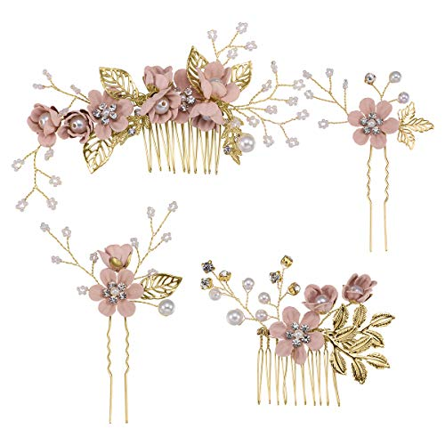 Toyvian Strass-Haarschmuck, blumig, Brautschmuck, Kopfschmuck, dekoratives Strass-Stirnband für Hochzeitsfeier, Pink, 4 Stück
