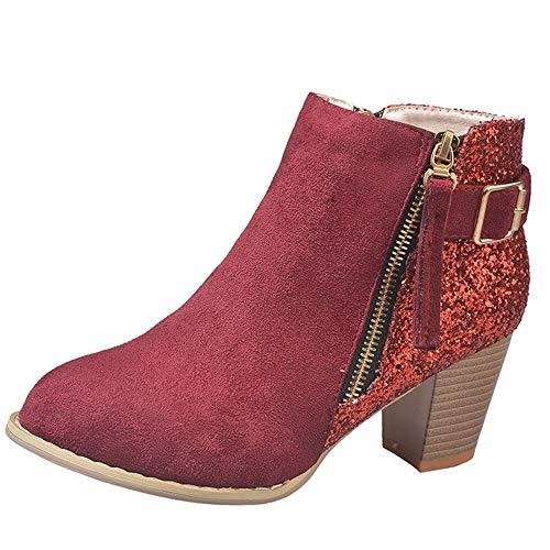 ELECTRI Boots Femme français à Talons Hauts Bare,Automne Hiver Chaussures Bottes en Cuir Sexy Boots à glissière à Couleurs mélangées Femme Talon Bottines Haute Épaisseur