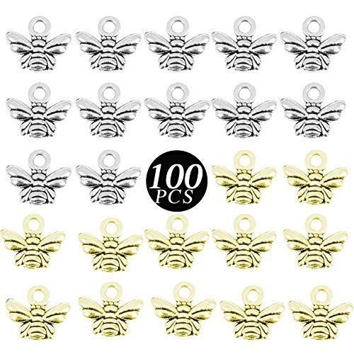 XYDZ Gioielli Ciondoli Ape, 100pz Ciondoli Pendenti Ape in Lega per Orecchini Collane Bracciali Bigiotteria Creazione Gioielli(Argento, Rame)