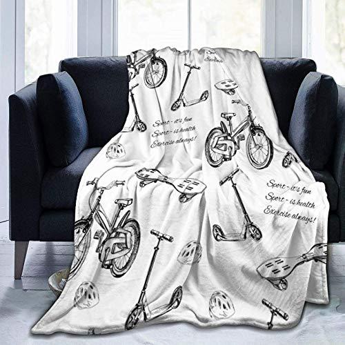 OUSHENGMAOYI Hand Gezeichnete Baby Bike Kick Scooter Wave Board Und Helm,Gemütliche Couchdecke,Bett Warme Decke,Couch Warme Decke,Flanell Warme Decke,Plüsch Flanell Decke,Flanell Fleecedecke