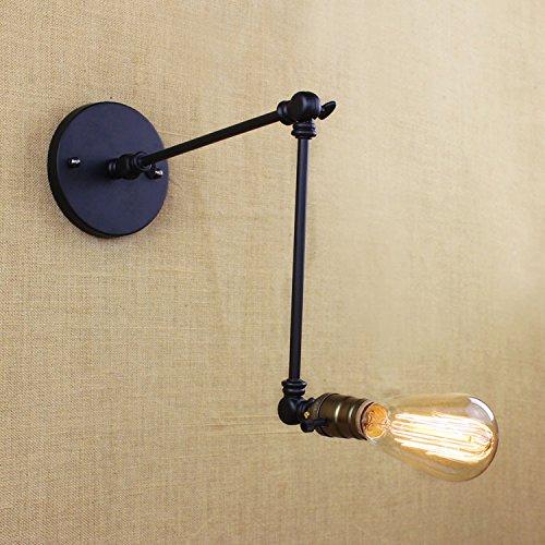 5151BuyWorld korte stijl 2 schommel wandlamp armen jaargang industriële creatieve zwart ijzeren studie slaapkamer verlichting met schakelaar Sconce