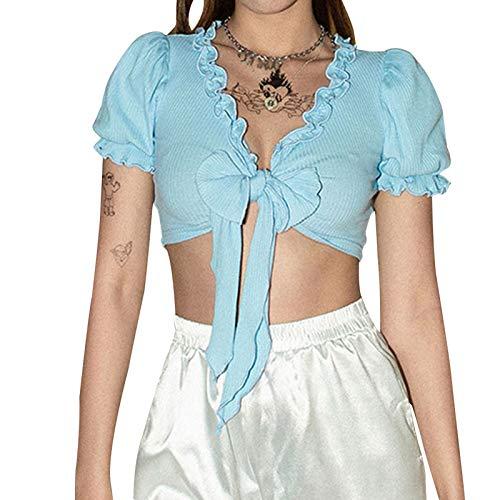 LIZONGFQ Moda para Mujer Cuello con Cuello en V Sexy Vendaje Camiseta Corta Camiseta Camiseta de Verano de Color sólido de Verano de Manga Corta para hojaldra,2