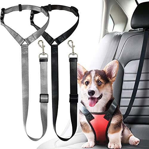 2 Pack Dog Seat Belt,Retractable Dog Car Harness Adjustable Pet Seatbelts for Vehicle Nylon Doggy Safety Seat Belts Heavy Duty&Durable Car Restraints and Harness for Dogs