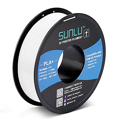SUNLU PLA+ Filament 1.75mm for 3D Printer & 3D Pens, 1KG (2.2LBS) PLA+ 3D Printer Filament Tolerance Accuracy +/- 0.02 mm, White
