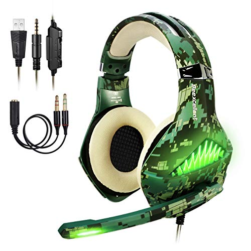 BlueFire Upgraded Professional PS4 Gaming Headset 3.5mm Wired Bass Stereo Noise Isolation Gaming Headphone with Mic and LED Lights for Playstation 4, Xbox one, Laptop (Camo)