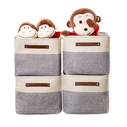 VK Living Large Foldable Storage Bin Collapsible Sturdy Fabric Storage Basket Cube PU Handles for Organizing Shelf Nursery Home Closet Office Gray Beige 15 x 11 x 9.5, 4 Pack