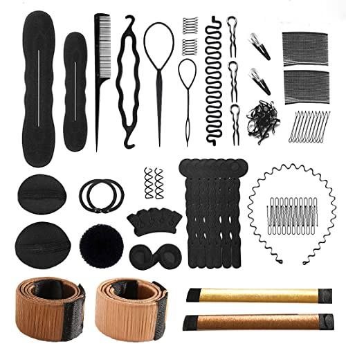 40 Pcs Hair Styling Accessories Kit Set Bun Maker Hair Braid Tool for Making DIY Hair Styles Black Magic Hair Twist Styling Accessories for Girls or Women (A)