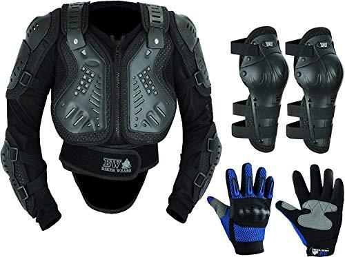 Protezione per il corpo per bambini, per moto, motocross, con protezione per la schiena, ideale per attività sportive con ginocchiere e guanti per nocche rigide.