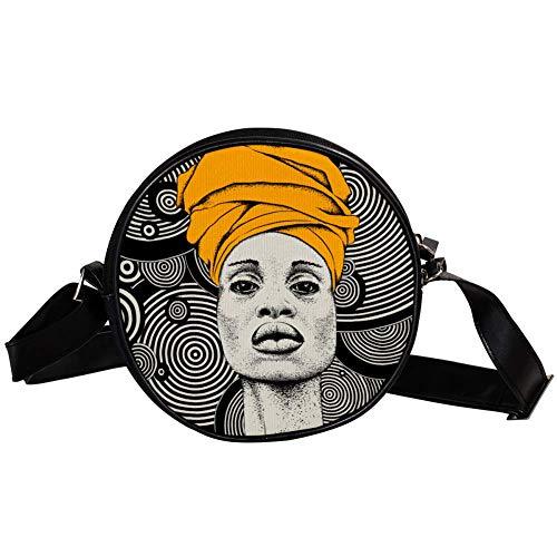 Sac à bandoulière rond Petit sac à main pour dames Mode Sac à bandoulière Sac à bandoulière en toile Sac banane Accessoires pour femme - African Woman In Turban