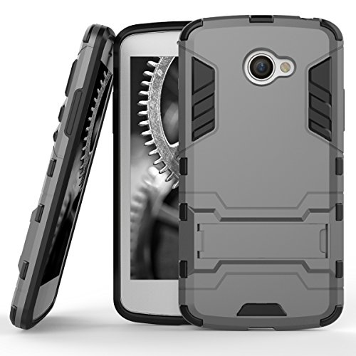 MYCASE Schutz Hülle Hülle für LG K5 | Grau | Hard Cover mit Kickstand | Plastik Silikon Kunststoff TPU Schale Bumper Tasche Schutzhülle Handy Hülle