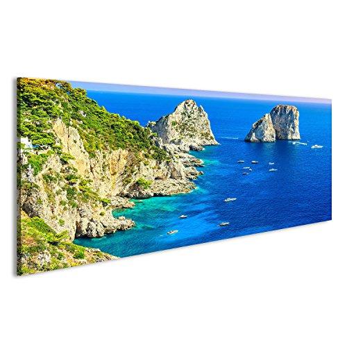 islandburner, Quadro moderno Panorama di scogliere Faraglioni e il maestoso Mar Tirreno, isola di Capri, Campania, Italia Stampa su tela - Quadri moderni KNB-Pano-IT4