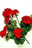 tatjana-land-deko Geranio artificial flor artificial, flores artificiales, geranio, decoración J1 (J1 rojo 46 cm)