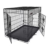 FEANDREA Cage pour Chiens, 2 Portes, Pliable, Transportable, avec Poignées et Plateau, Format XL,...