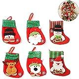Hpamba Soporte para muñeco de nieve Medias navideñas Bota de Navidad Santa Claus Calcetines Colgantes Calcetín de Santa Claus para relleno Calcetín navideño para rellenar y colgar diseños Mini 6 Pares