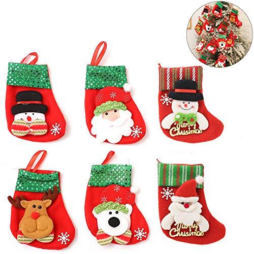Hpamba Weihnachtsstrumpf Rentier und Nikolaus Schneemann Halter Kleine Weihnachtsstrümpfe Socken für Weihnachtsbaum Dekoration Weihnachts-Strumpf Socke Hängen Befüllen & Aufhängen Designs 6 Paare