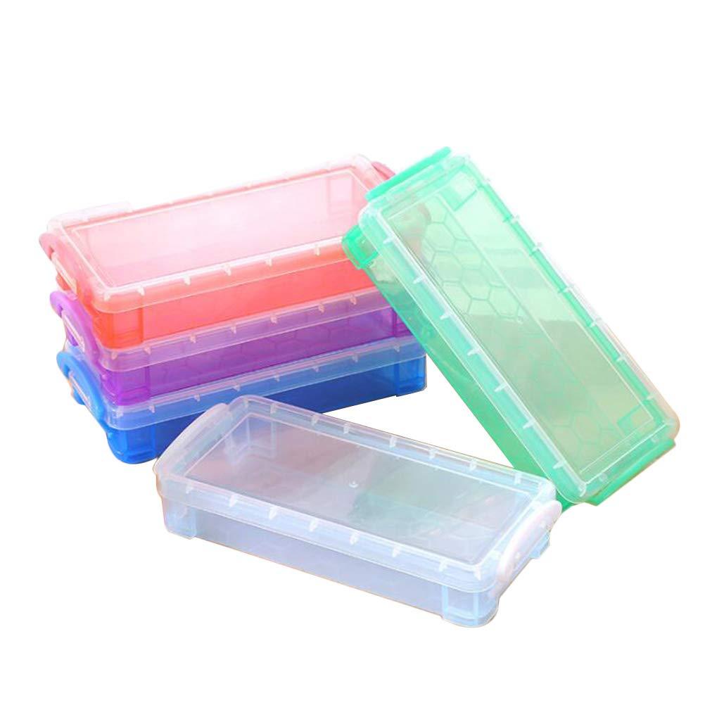 Toyvian - Estuche de plástico transparente para lápices, suministros de papelería para la escuela, oficina, 5 unidades: Amazon.es: Hogar