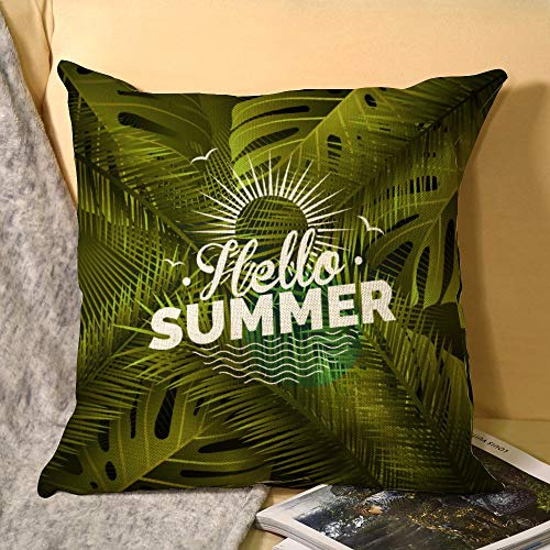 Hello Summer Tropical Plant Maxims Sunlight Big Leafs Funda de almohada de lino verde doble cara planta tropical máxima 45 x 45 cm hojas de palma, funda de cojín decorativa para sofá, cama, sillas, etc.