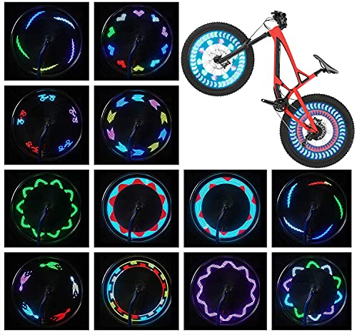 Bike Wheel Lights (2 Tire Pack) - Waterproof LED Bicycle Spoke Lights Safety Tire Lights - Great Gift for Kids Adults - 30 Different Patterns Change - Bike Accessories - Easy to Install