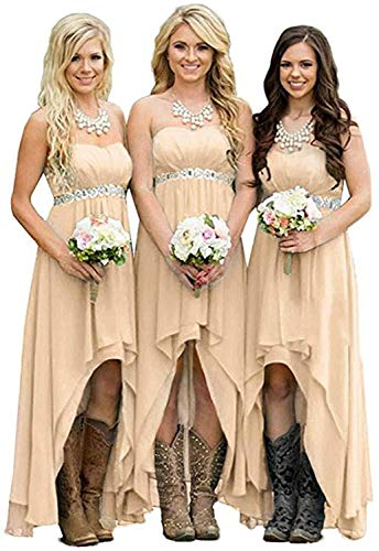 Homdor Women Strapless High Low Bridesmaid Dresses Off The Shoulder Wedding Gown Champagne Size 10