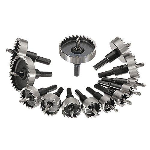 Nuzamas, set di 13 seghe a tazza in metallo da 16 a 53 mm, kit di utensili in acciaio al tungsteno, per acciaio inox, piastra in ferro, rame, legno