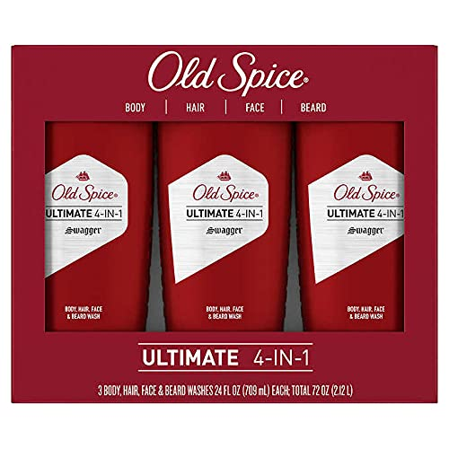 Old Spice Ultimate 4 in 1 Body Hair Face and Beard Wash, Swagger Scent, 24 Fl Ounce (3 Count)