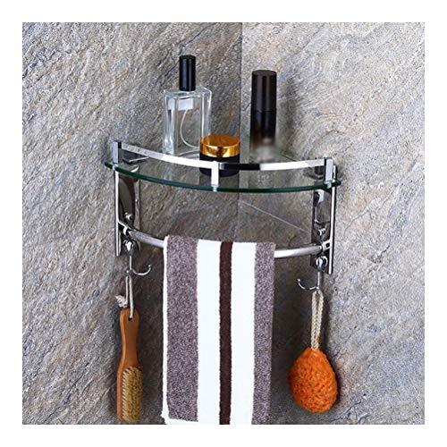 ZWJ douche glazen plank hoekplank muur bevestigde badkamer douchebak met 2 haken en handdoekhouder slappen inbouwruimte aluminium Triangle 01-27