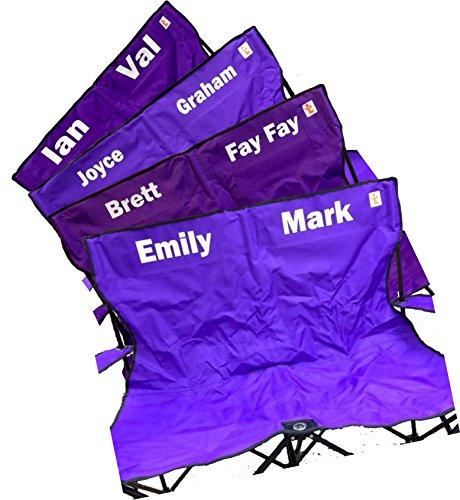 Personnalisé – Double chaise de camping pliable – Big – Robuste – Livraison gratuite (Violet)