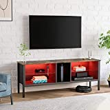 BESTIER 63'' Modern TV Stand 20 Color LED Entertainment Center,TV Console High Glass Television Stands with 2-Layers Storage Cabinet Media Player Wall Mounted for Living Bedroom up to 75 inch Rustic