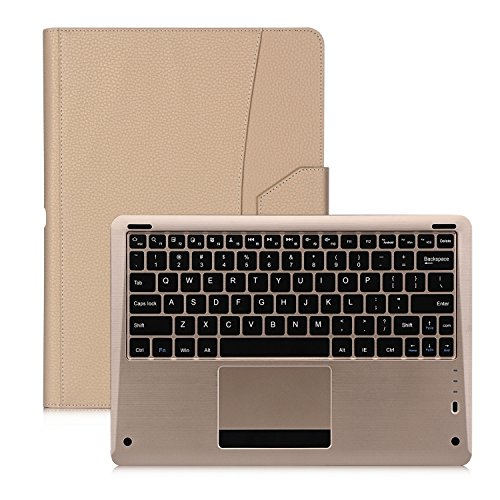 FYY Case for iPad Pro, [Luxury Gold Keyboard] Magnetically Detachable Wireless Bluetooth Keyboard Leather Case Smart Cover with Note Holder for Apple iPad Pro 12.9 (2015) Gold