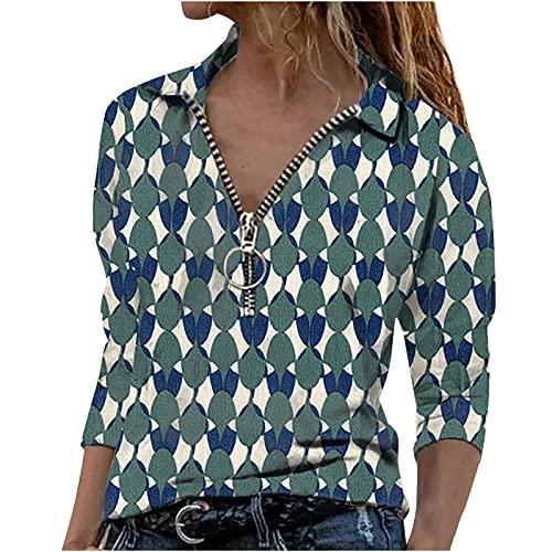 Masrin Bluse Damen Lässiger Pullover mit geometrischem Print Tunika mit Revers und Langen Ärmeln Schmale Oberteile mit Reißverschluss und V Ausschnitt Herbst Langarmshirts Strassenmode